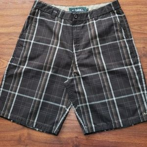 Men's O'Neill brown plaid shorts, size 34